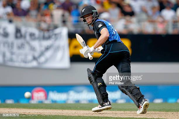 Mitchell Santner of New Zealand bats during the One Day International match between New Zealand and Australia at Eden Park on February 3 2016 in...