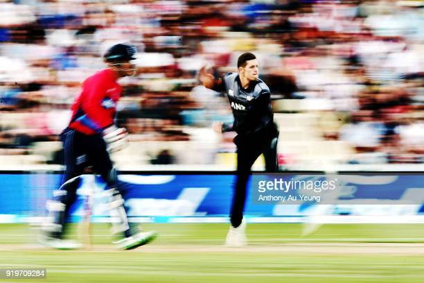 Mitchell Santner of New Zealand bowls during the International Twenty20 match between New Zealand and England at Seddon Park on February 18 2018 in...