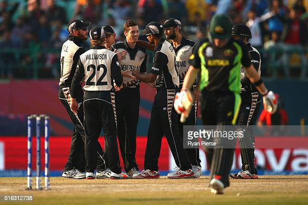 Mitchell Santner of New Zealand celebrates after taking the wicket of Steve Smith of Australia during the ICC World Twenty20 India 2016 Super 10s...