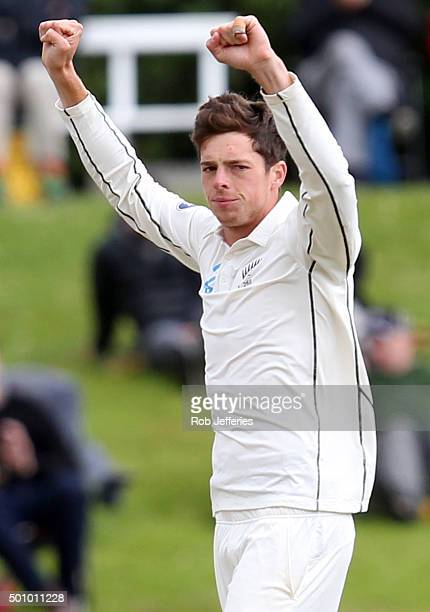 Mitchell Santner of New Zealand celebrates taking the wicket of Nuwan Pradeep of Sri Lanka during day three of the First Test match between New...