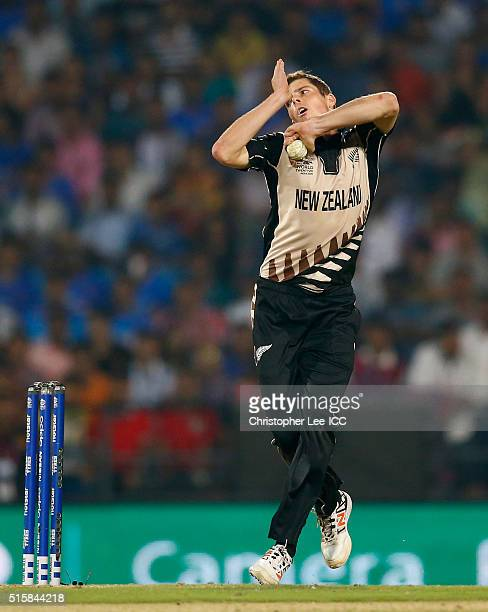 Mitchell Santner of New Zealand in action during the ICC World Twenty20 India 2016 Group 2 match between New Zealand and India at the Vidarbha...