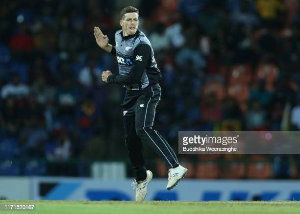 Mitchell Santner of New Zealand in action during the Twenty20 International match between Sri Lanka and New Zealand at Pallekele Cricket Stadium on...