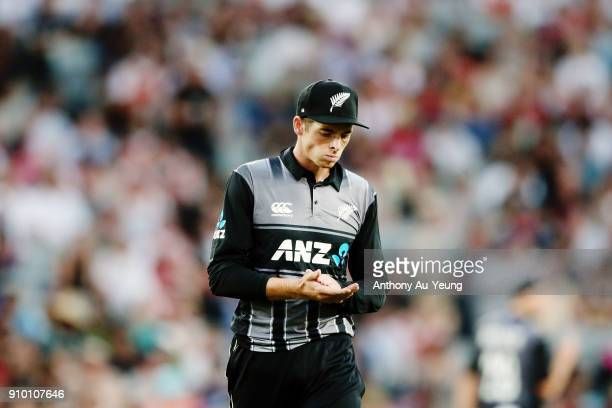 Mitchell Santner of New Zealand looks on during the International Twenty20 match between New Zealand and Pakistan at Eden Park on January 25 2018 in...
