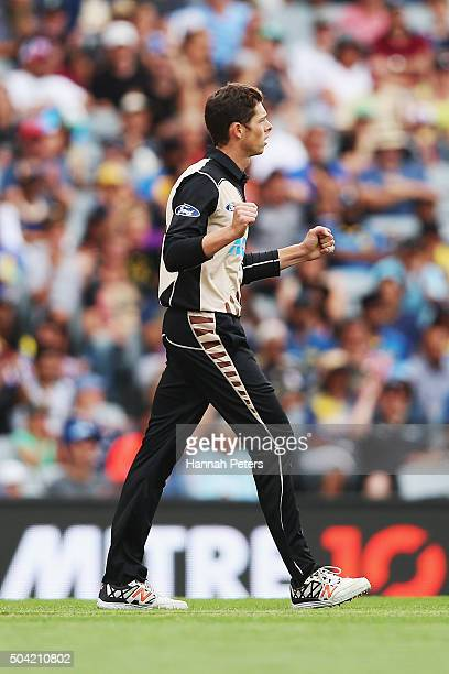Mitchell Santner of the Black Caps celebrates after claiming the wicket of Dinesh Chandimal of Sri Lanka during the Twenty20 International match...