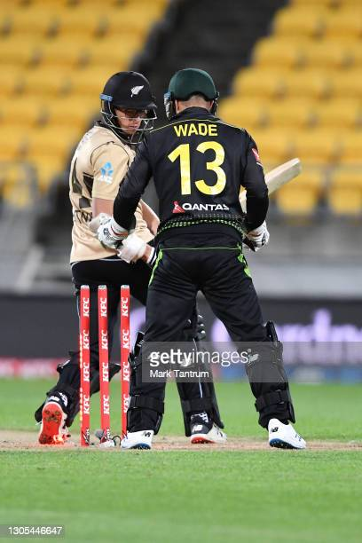 Mitchell Santner of the Black Caps gets bowled for 3 during game four of the International T20 series between New Zealand Blackcaps and Australia at...