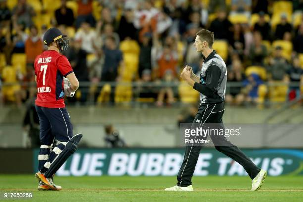 Mitchell Santner of the Blackcaps celebrates his wicket of Sam Billings of England during the International Twenty20 match between New Zealand and...