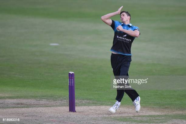 Mitchell Santner of Worcestershire runs into bowl during the NatWest T20 Blast match between Worcestershire Rapids and Derbyshire Falcons at New Road...