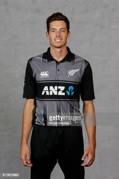 Mitchell Santner poses during the New Zealand International Twenty20 headshots session at Sydney Cricket Ground on February 1 2018 in Sydney Australia