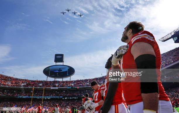 Mitchell Schwartz offensive tackle with the Kansas City Chiefs watched four A10 jets fly over at Arrowhead Stadium on Veteran's Day prior to the game...