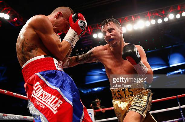 Mitchell Smith of England fights Zoltan Kovacs of Hungary in the vacant WBO european superfeatherweight championships during Boxing at ExCel on...