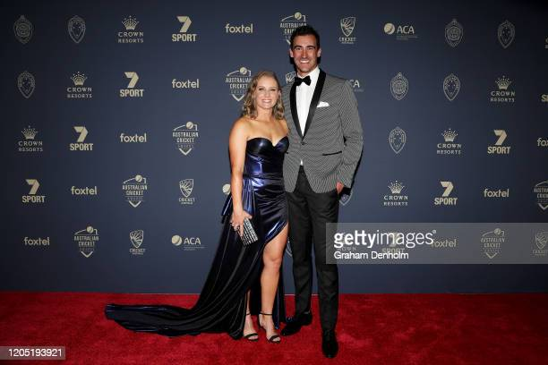 Mitchell Starc and Alyssa Healy arrive ahead of the 2020 Cricket Australia Awards at Crown Palladium on February 10 2020 in Melbourne Australia