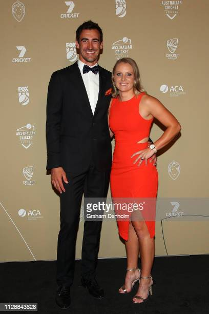 Mitchell Starc and Alyssa Healy attend the 2019 Australian Cricket Awards at Crown Palladium on February 11 2019 in Melbourne Australia