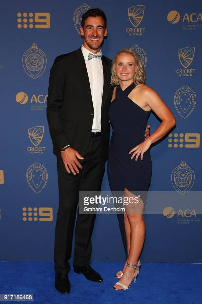 Mitchell Starc and Alyssa Starc arrive at the 2018 Allan Border Medal at Crown Palladium on February 12 2018 in Melbourne Australia