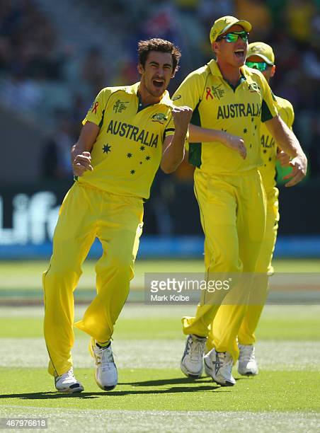 Mitchell Starc and James Faulkner of Australia celebrate Starc taking the wicket of Brendon McCullum of New Zealand during the 2015 ICC Cricket World...