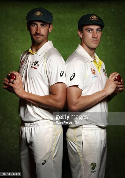 Mitchell Starc and Pat Cummins of Australia pose during the Australian Men's Test Portrait Session on September 27 2018 in Brisbane Australia