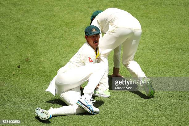 Mitchell Starc and Shaun Marsh of Australia collide in the outfield during day two of the First Test Match of the 2017/18 Ashes Series between...