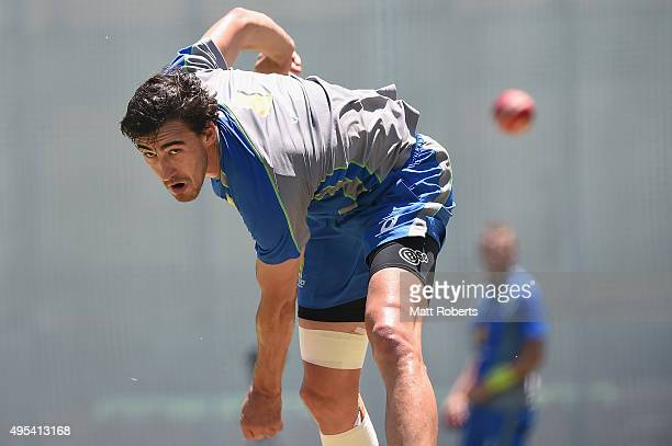 Mitchell Starc bowls during an Australian nets session at The Gabba on November 3 2015 in Brisbane Australia