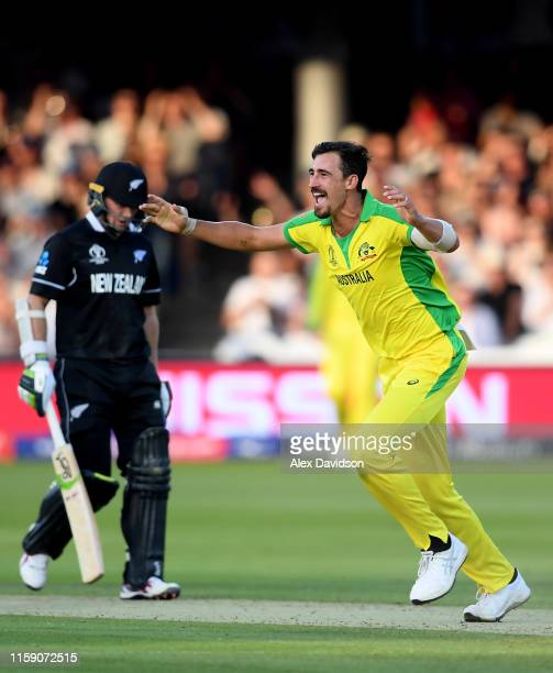 Mitchell Starc celebrates taking the wicket of Tom Latham of New Zealand during the Group Stage match of the ICC Cricket World Cup 2019 between New...
