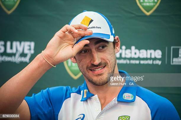 Mitchell Starc during the Commonwealth Bank Test Series Launch at Queen Street Mall on December 11 2016 in Brisbane Australia