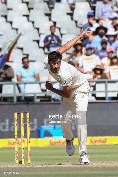 Mitchell Starc from Australia during day 4 of the 3rd Sunfoil Test match between South Africa and Australia at PPC Newlands on March 25 2018 in Cape...