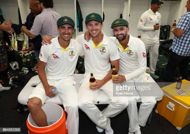 Mitchell Starc Josh Hazlewood and Nathan Lyon and Australia celebrate in the changerooms after Australia regained the Ashes during day five of the...