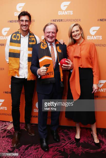 Mitchell Starc Kevin Sheedy and Melissa Doyle pose during a Greater Western Sydney Giants media opportunity at The Star on September 25 2019 in...