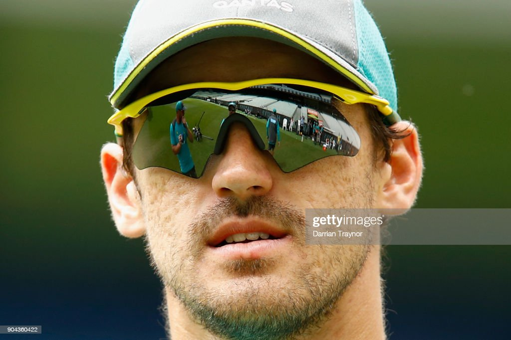 Mitchell Starc looks on during the Australian nets session at the on January 13, 2018 in Melbourne, Australia.