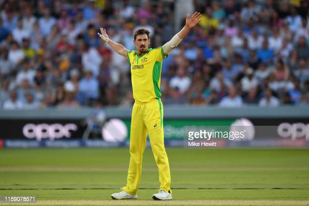 Mitchell Starc of Australia appeals during the Group Stage match of the ICC Cricket World Cup 2019 between New Zealand and Australia at Lords on June...