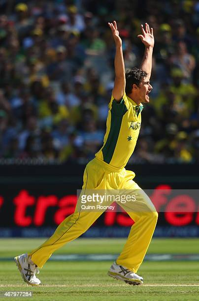Mitchell Starc of Australia appeals for a wicket during the 2015 ICC Cricket World Cup final match between Australia and New Zealand at Melbourne...