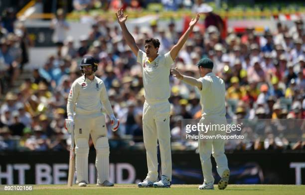Mitchell Starc of Australia appeals for the dismissal of Mark Stoneman of England and after a review the ball was ruled to have touched his glove...