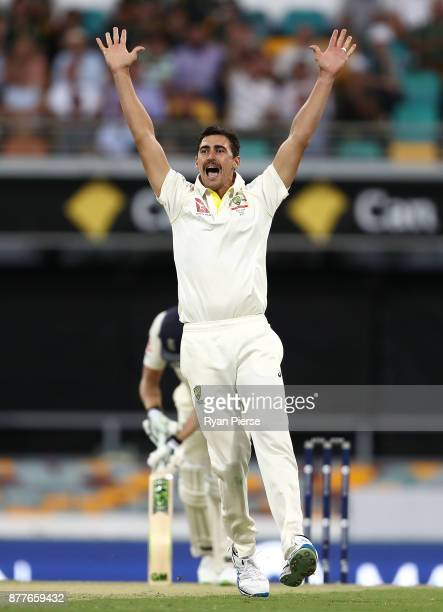 Mitchell Starc of Australia appeals for the wicket of Dawid Malan of England during day one of the First Test Match of the 2017/18 Ashes Series...