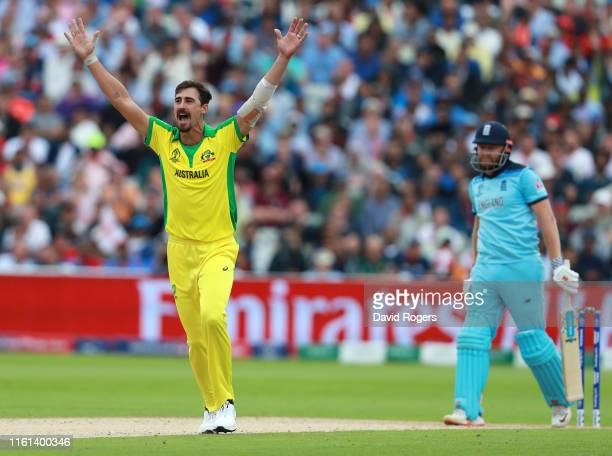 Mitchell Starc of Australia appeals for the wicket of Jonny Bairstow of England during the SemiFinal match of the ICC Cricket World Cup 2019 between...