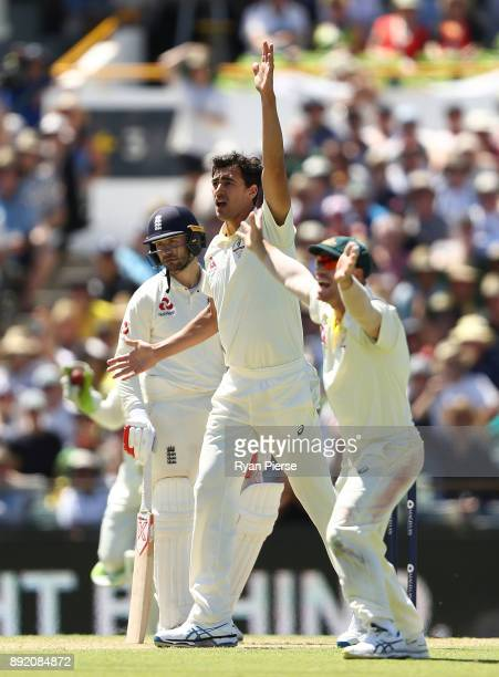 Mitchell Starc of Australia appeals for the wicket of Mark Stoneman of England during day one of the Third Test match of the 2017/18 Ashes Series...