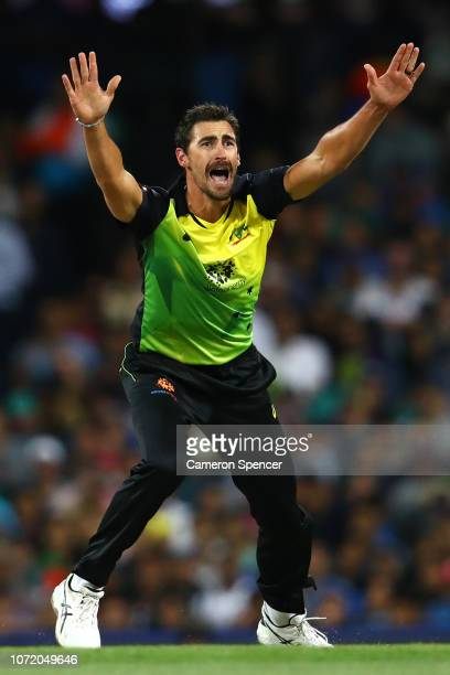 Mitchell Starc of Australia appeals lbw for the wicket of Shikhar Dhawan of India during the International Twenty20 match between Australia and India...