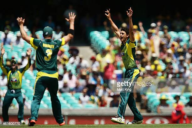 Mitchell Starc of Australia appeals successfully for the wicket of James Taylor of England during the One Day International series match between...