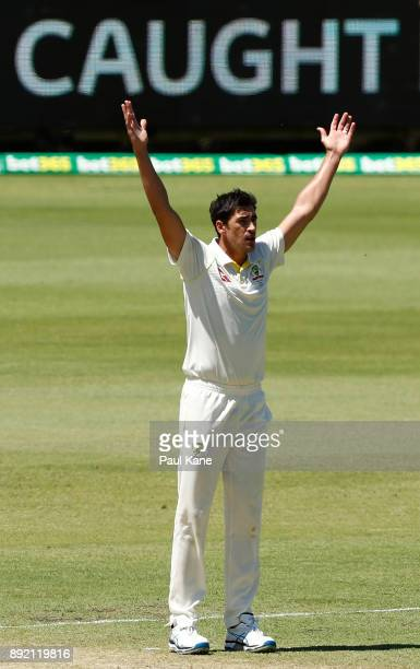 Mitchell Starc of Australia appeals to the umpire for the wicket of Mark Stoneman of England during day one of the Third Test match of the 2017/18...