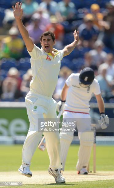 Mitchell Starc of Australia appeals unsuccessfully for the wicket of England opener Adam Lyth during the 1st Ashes Test match between England and...