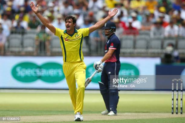 Mitchell Starc of Australia appeals unsuccessfully for the wicket of Jonny Bairstow of England during game five of the One Day International match...