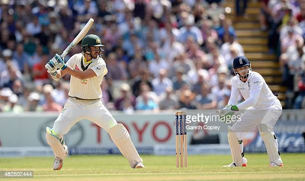 Mitchell Starc of Australia bats during day three of the 3rd Investec Ashes Test match between England and Australia at Edgbaston on July 31 2015 in...