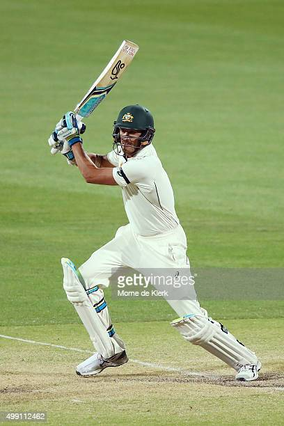 Mitchell Starc of Australia bats during day three of the Third Test match between Australia and New Zealand at Adelaide Oval on November 29 2015 in...