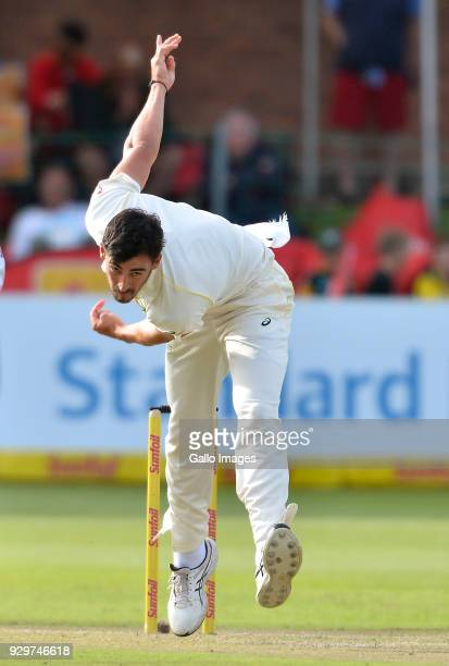 Mitchell Starc of Australia bowling during day 1 of the 2nd Sunfoil Test match between South Africa and Australia at St Georges Park on March 09 2018...