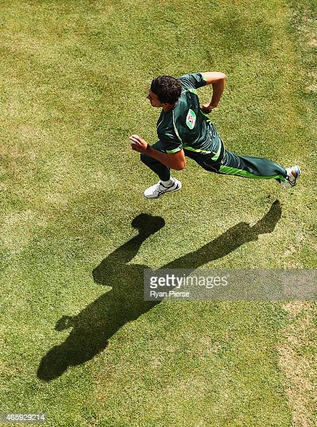 Mitchell Starc of Australia bowls during an Australia nets session at Bellerive Oval on March 12 2015 in Hobart Australia