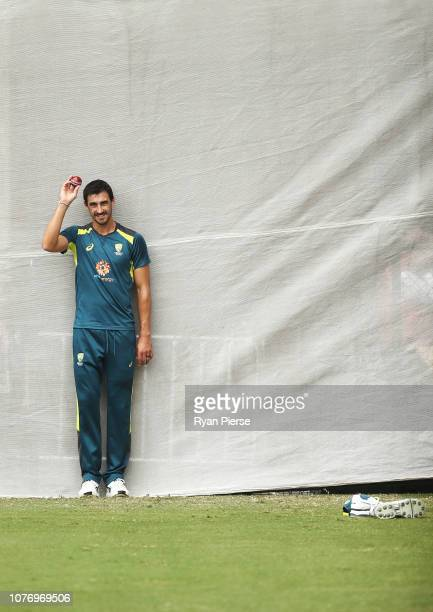 Mitchell Starc of Australia bowls during an Australian nets session at Adelaide Oval on December 04 2018 in Adelaide Australia