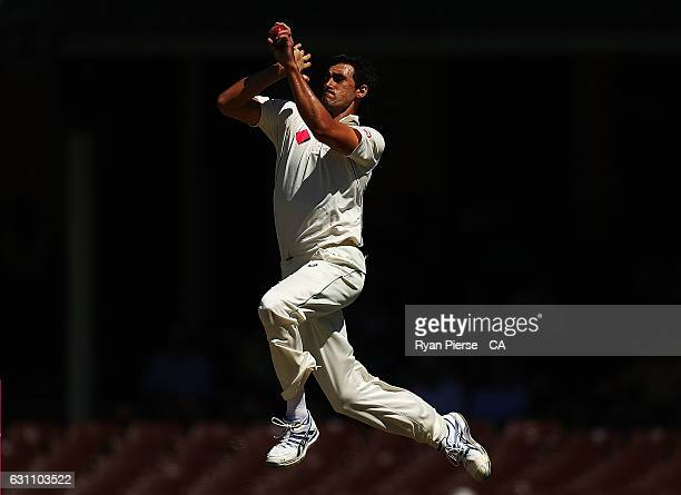 Mitchell Starc of Australia bowls during day five of the Third Test match between Australia and Pakistan at Sydney Cricket Ground on January 7 2017...