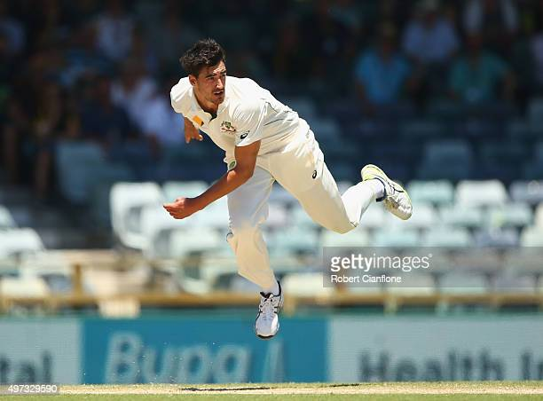Mitchell Starc of Australia bowls during day four of the second Test match between Australia and New Zealand at the WACA on November 16 2015 in Perth...
