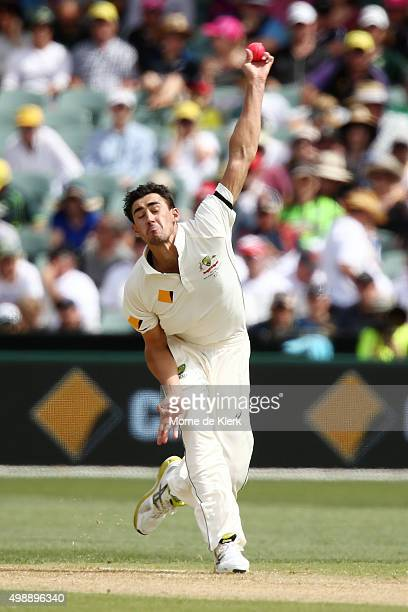 Mitchell Starc of Australia bowls during day one of the Third Test match between Australia and New Zealand at Adelaide Oval on November 27 2015 in...