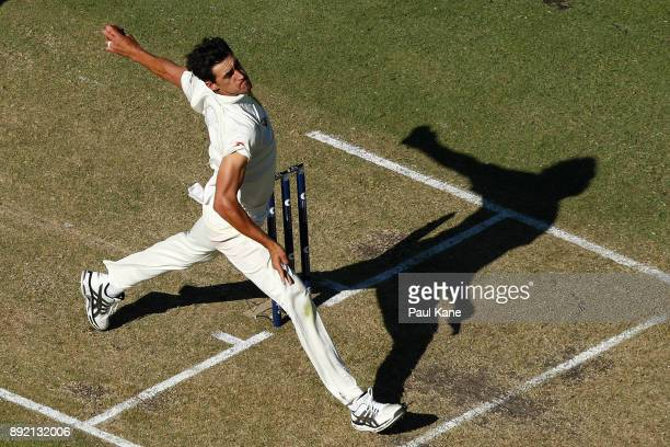 Mitchell Starc of Australia bowls during day one of the Third Test match of the 2017/18 Ashes Series between Australia and England at WACA on...