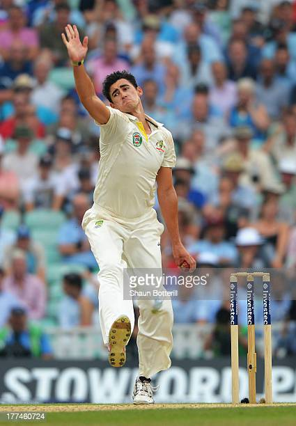 Mitchell Starc of Australia bowls during day three of the 5th Investec Ashes Test match between England and Australia at the Kia Oval on August 23...