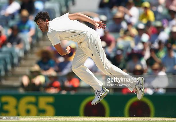 Mitchell Starc of Australia bowls during day three of the second Test match between Australia and New Zealand at the WACA on November 15 2015 in...