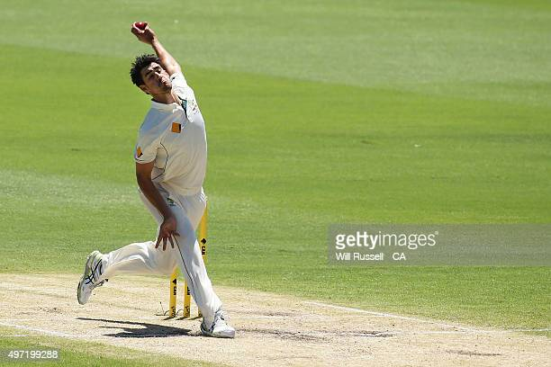 Mitchell Starc of Australia bowls during day three of the second Test match between Australia and New Zealand at WACA on November 15 2015 in Perth...